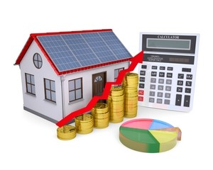 House with solar panels, calculator, schedule, and coins. Isolated render on a white background